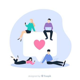 Fondo disegnato a mano di concetto del cuore di media sociali dei giovani
