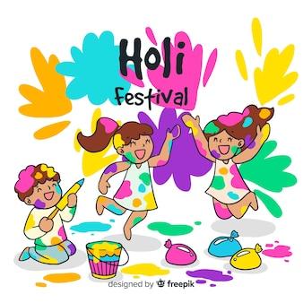 Fondo disegnato a mano di festival di holi dei bambini