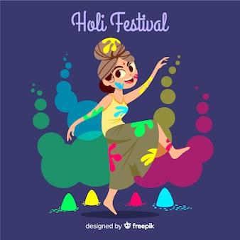 Fondo disegnato a mano di festival di holi della ragazza