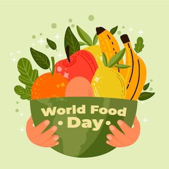 Fondo disegnato a mano di giornata mondiale dell'alimentazione con la ciotola