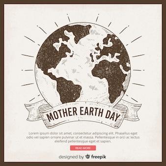 Fondo disegnato a mano di giorno di terra di madre