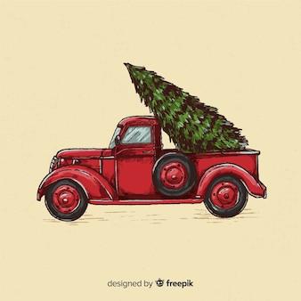 Fondo disegnato a mano di natale del camion di consegna dell'albero