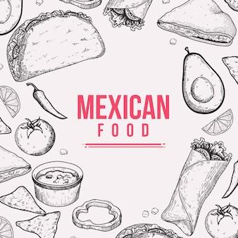 Fondo disegnato a mano di scarabocchio dell'alimento messicano