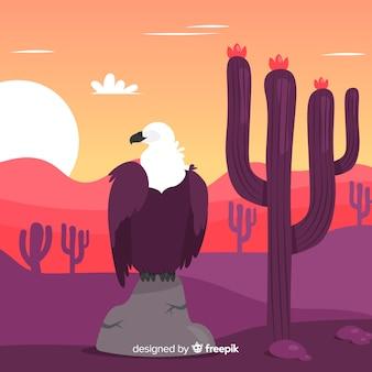Fondo disegnato a mano di scena di tramonto del deserto