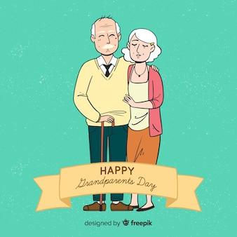 Fondo disegnato a mano sveglio di giorno dei nonni
