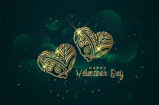 Fondo dorato artistico di giorno dei biglietti di s. valentino dei cuori