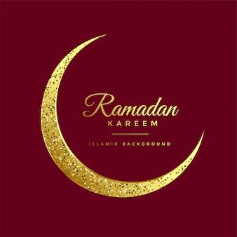 Fondo dorato del kareem del ramadan della luna di eid di scintillio