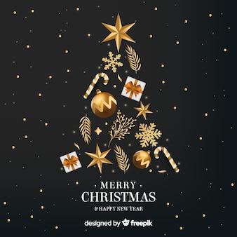 Fondo dorato del nuovo anno dell'albero di Natale