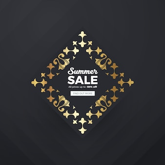 Fondo dorato dell'insegna di vendite