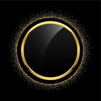 Fondo dorato della struttura di scintillio del cerchio vuoto