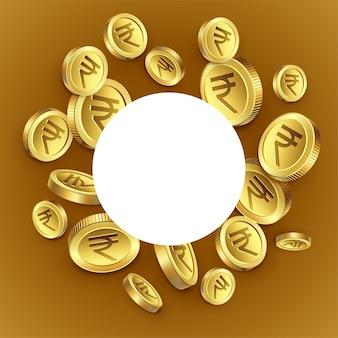 Fondo dorato delle monete della rupia indiana