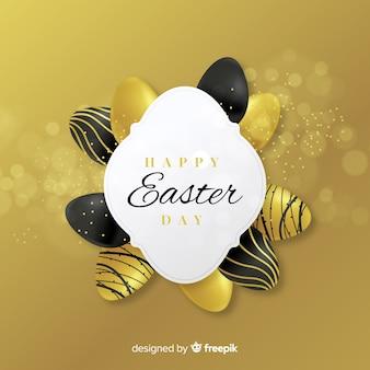 Fondo dorato di giorno di pasqua delle uova dorate