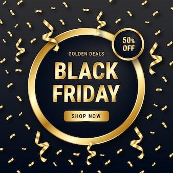 Fondo dorato di lusso di vendita di venerdì nero dei coriandoli
