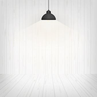 Fondo e lampada dello spazio della stanza di legno.