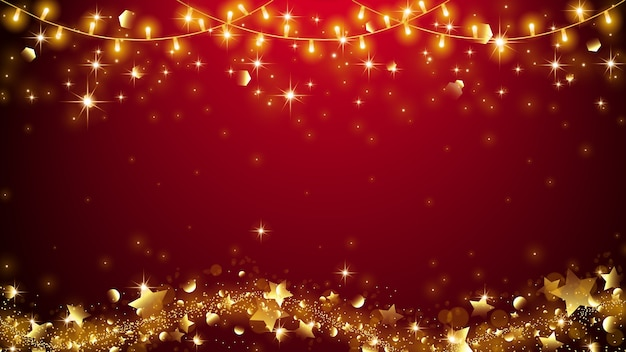 Fondo elegante del candeliere di natale con la stella dorata che defluisce.