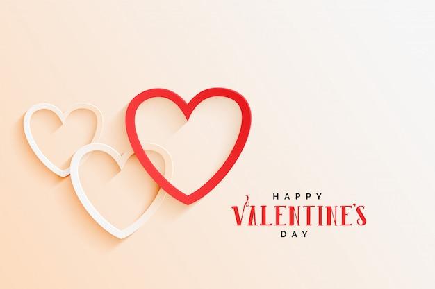 Fondo elegante di giorno dei biglietti di s. valentino della bella linea cuori