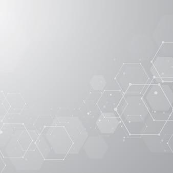 Fondo esagonale astratto delle strutture molecolari