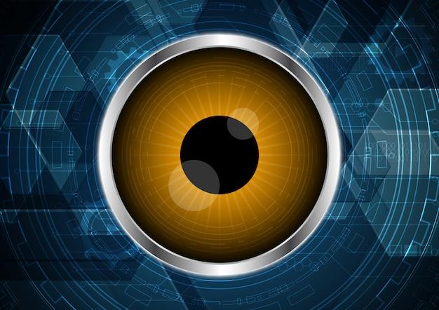 Fondo esagonale del cerchio del circuito dell'occhio futuro astratto di tecnologia