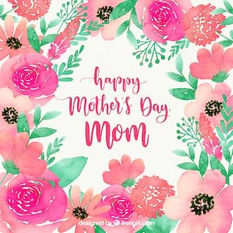 Fondo felice dell'acquerello di festa della mamma con i fiori