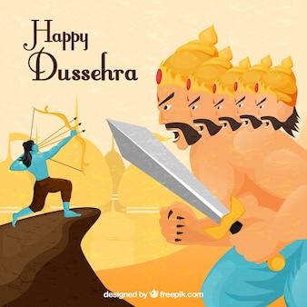 Fondo felice di dussehra con il guerriero di combattimento dell'arciere