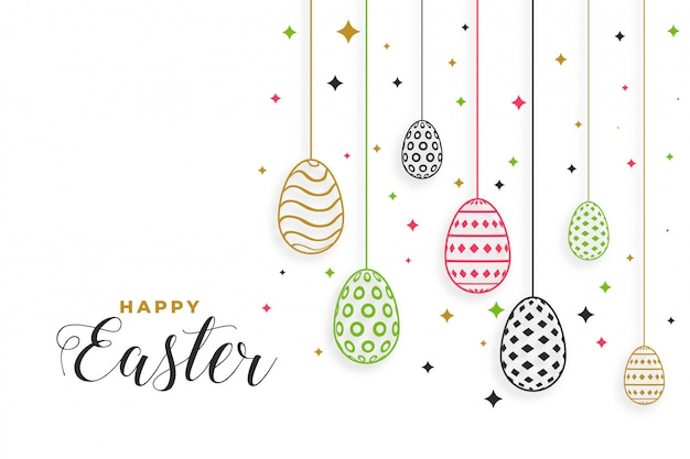 Fondo felice di festival di giorno di pasqua con la decorazione delle uova