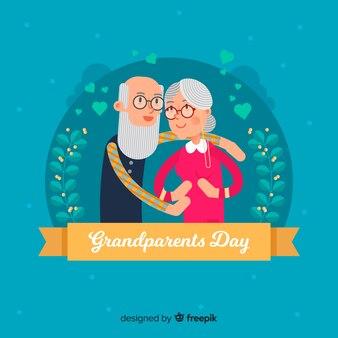 Fondo felice di giorno dei nonni nella progettazione piana