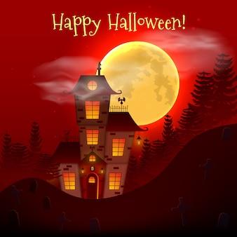 Fondo felice di notte di halloween con la casa spaventosa frequentata.