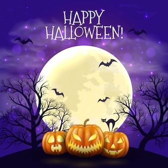 Fondo felice di notte di halloween con le zucche e la luna spaventose realistiche.