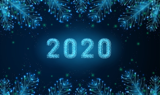Fondo felice di nuovo anno 2020 astratto con rami di albero in forma.