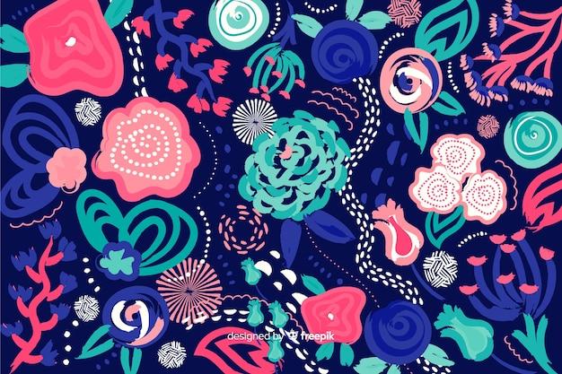 Fondo floreale astratto dipinto a mano