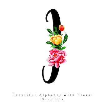 Fondo floreale dell'acquerello della lettera i di alfabeto