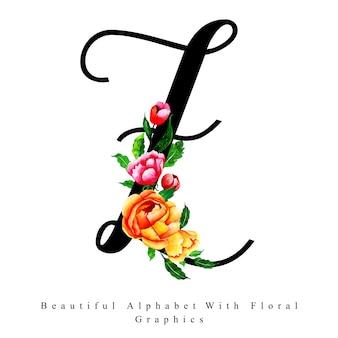 Fondo floreale dell'acquerello della lettera z di alfabeto