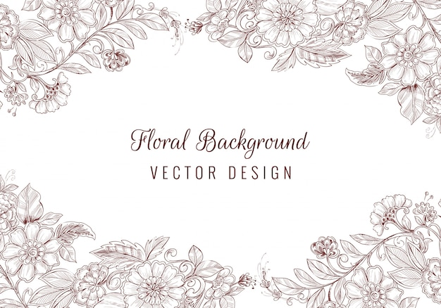 Fondo floreale dell'ornamento di nozze disegnato a mano bella