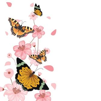 Fondo floreale della struttura della primavera di estate del fiore delle farfalle