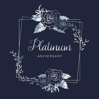 Fondo floreale di anniversario di nozze del platino di nozze