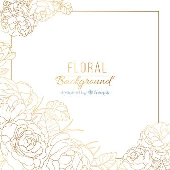 Fondo floreale dorato dell'alba di mano