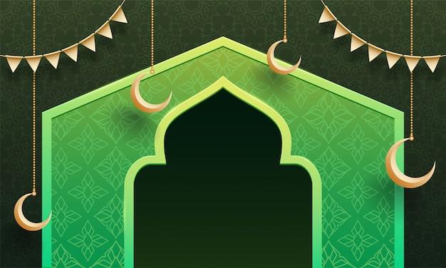 Fondo floreale, illustrazione del portone della moschea e luna d'attaccatura