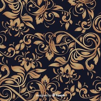 Fondo floreale ornamentale elegante dorato