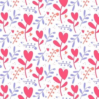 Fondo floreale sveglio romantico del modello di san valentino dei cuori