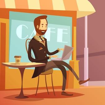 Fondo funzionante dell'uomo d'affari con la tavola ed il caffè del computer portatile