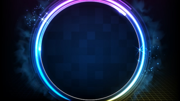 Fondo futuristico astratto del telaio rotondo del cerchio al neon blu d'ardore