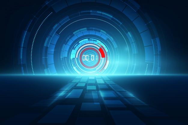 Fondo futuristico astratto di tecnologia con il concetto del temporizzatore di numero di digital