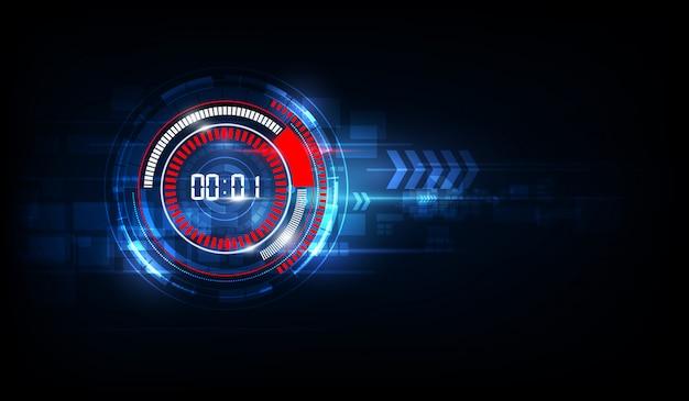 Fondo futuristico astratto di tecnologia con il concetto e il conto alla rovescia del temporizzatore di numero di digital, vettore trasparente