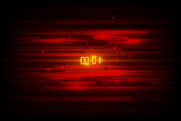 Fondo futuristico astratto di tecnologia con il concetto e il conto alla rovescia del temporizzatore di numero di digital