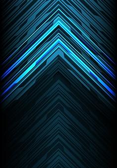 Fondo futuristico della direzione della freccia della linea del nero della luce blu.