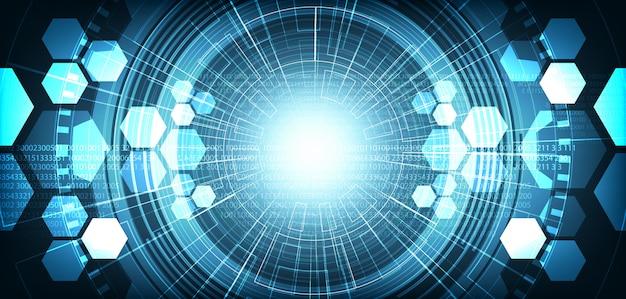 Fondo futuristico della rete del circuito di digital dell'occhio leggero