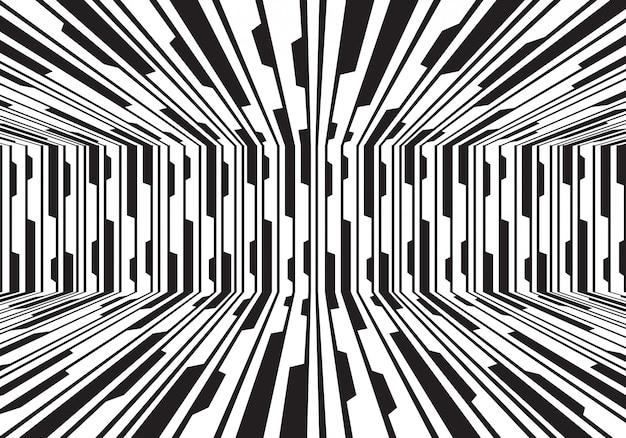 Fondo futuristico della sala del circuito 3d della linea bianca nera.