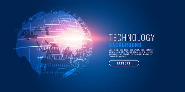 Fondo futuristico della terra digitale di tecnologia globale