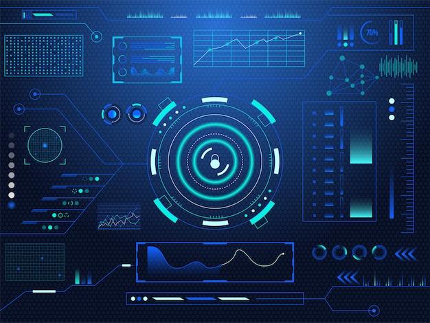 Fondo futuristico dello schermo di tecnologia di realtà virtuale dell'esposizione del cruscotto della serratura del hud di fantascienza.