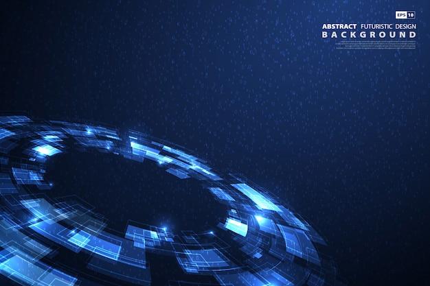 Fondo futuristico di grandi quantità di dati di tecnologia blu astratta
